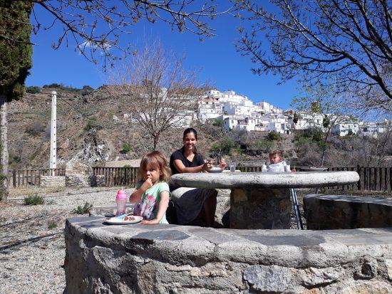 lunchen onderweg in Sierra Nevada